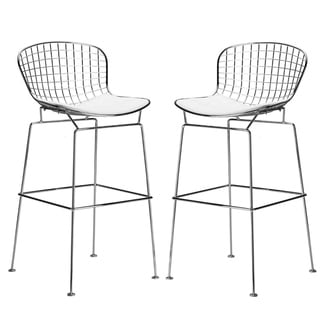 Morph Bertoia Modern Chrome and Vinyl Bar Stool (Set of 2)