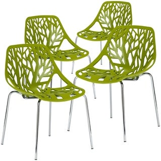 Edgemod Birds Nest Glossy Molded Plastic / Chromed Steel 4-piece Dining Chair Set