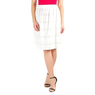 DownEast Basics Women's Cotton Mid-length Embroidered Skirt