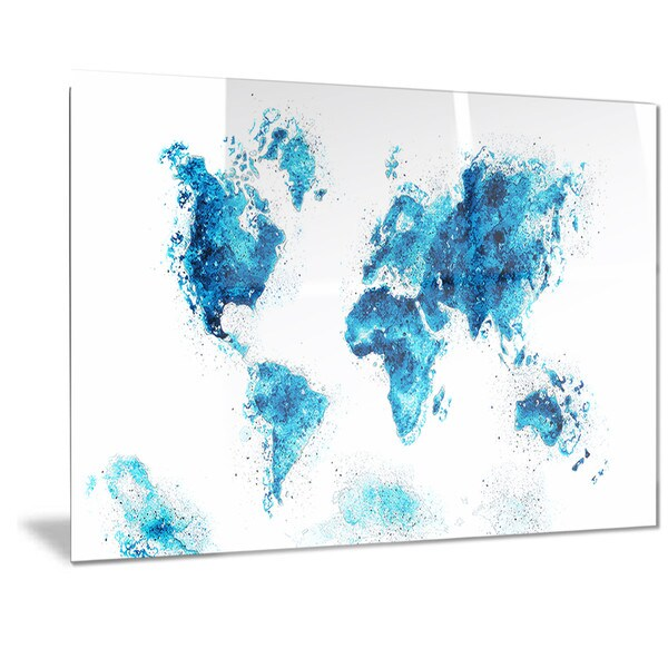 Designart 'Blue' Map Metal Wall Art