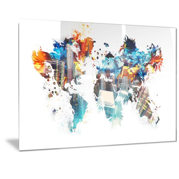 Designart 'Color My World' Map Metal Wall Art