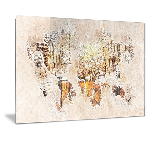 Designart 'Neutral Colors' Map Metal Wall Art