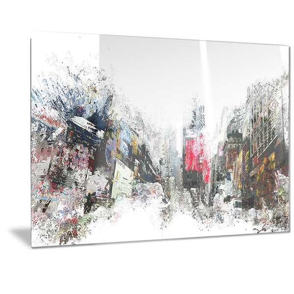 Designart 'City Never Sleeps Cityscape' Large Metal Wall Art