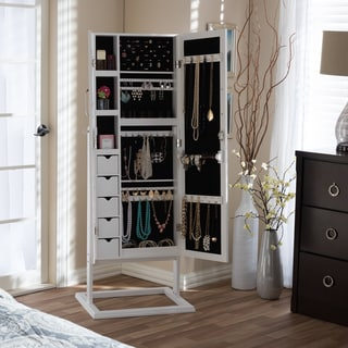 Baxton Studio Vittoria White Finish Wood Square Foot Floor Standing Double Door Storage Jewelry Armoire Cabinet
