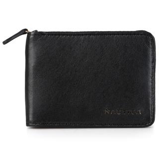 Nautica Men's Genuine Leather Slim Zip Around Wallet