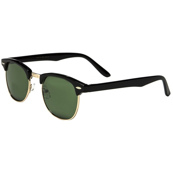 Men's Black Plastic Classic Clubmaster-style Sunglasses