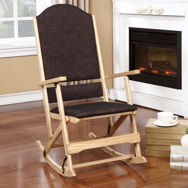 Aspen Natural Brown Wood Folding Rocking Chair