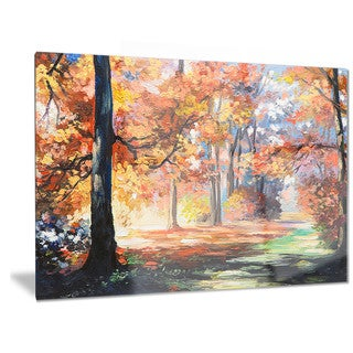 Designart 'Fall Trail in Forest' Landscape Metal Wall Art