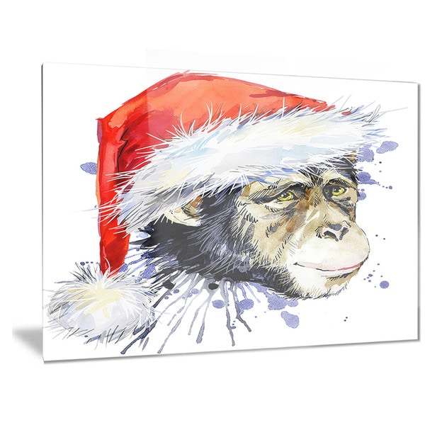 Designart 'Monkey Santa Clause' Animal Metal Wall Art