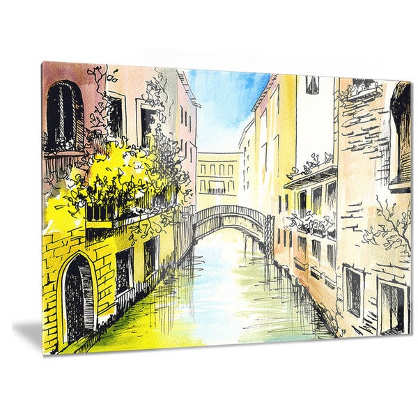 Designart 'Canal in Venice' Cityscape Metal Wall Art