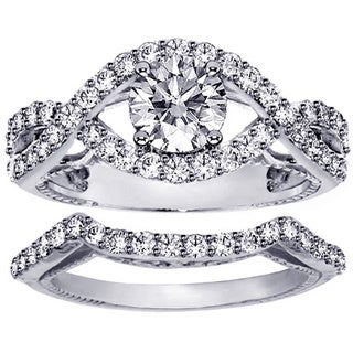 Platinum 1 3/4ct Diamond Crossover Engagement Ring Bridal Set (G-H, SI1-SI2)