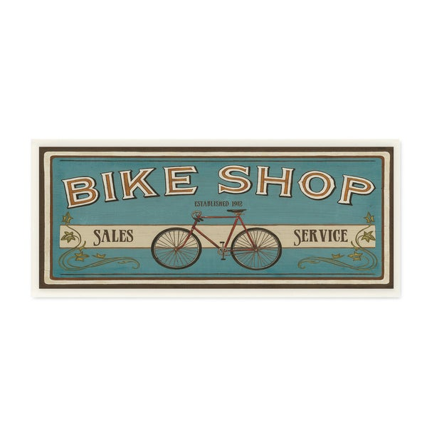 Bike Shop' Blue Wooden Wall Plaque Art