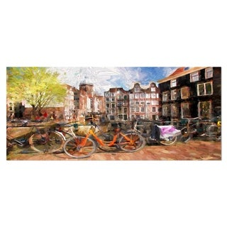 Designart 'Amsterdam City Artwork' Landscape Large Metal Wall Art