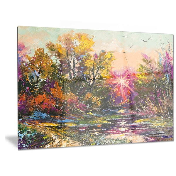 Designart 'Farewell to Autumn' Landscape Metal Wall Art