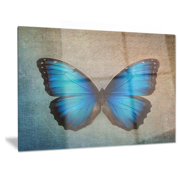 Designart 'Blue Vintage Butterfly' Floral Metal Wall Art