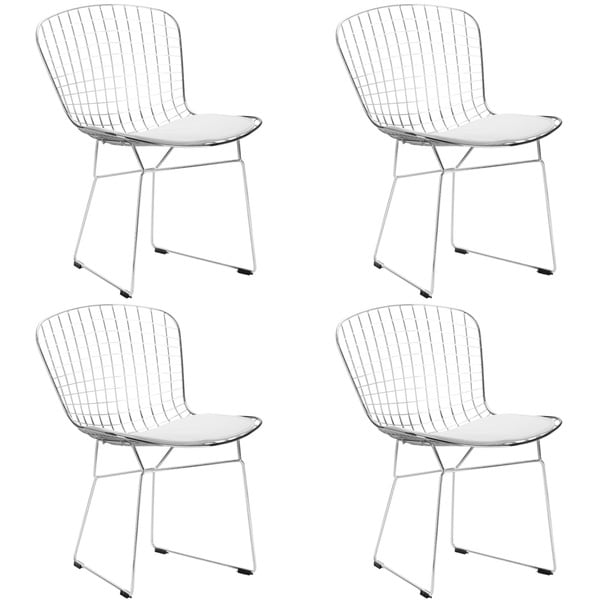 Poly and Bark Morph EM-108-BLK-X4 Chrome Steel Wire Dining Chair (Set of 4) 18740500