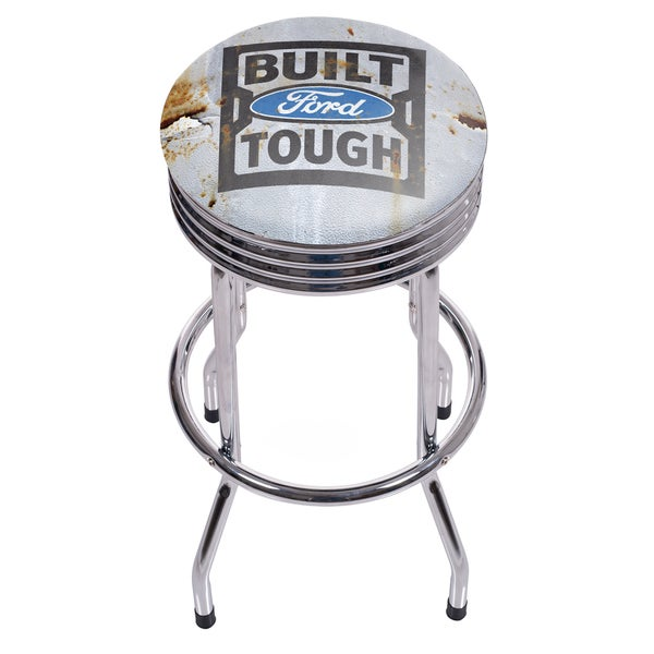 Ford Chrome Ribbed Bar Stool - Built Ford Tough 18740735