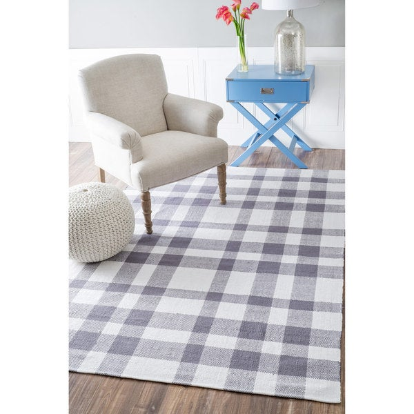 nuLOOM Handmade Flatweave Summer Plaid Picnic Cotton Grey Rug (4' x 6')