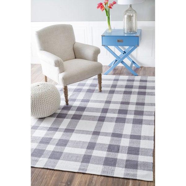 nuLOOM Handmade Flatweave Summer Plaid Picnic Cotton Grey Rug (4' x 6')