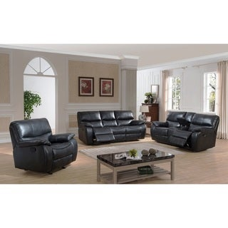 Evan Transitional Reclining Sofa, Loveseat with Storage Console and Glider Reclining Chair 3-piece Set