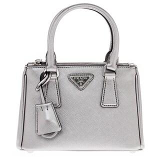 Prada Galleria Silver Saffiano Leather Mini-Bag