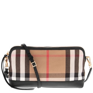 Burberry House Check Derby Leather Small Abingdon Clutch Bag