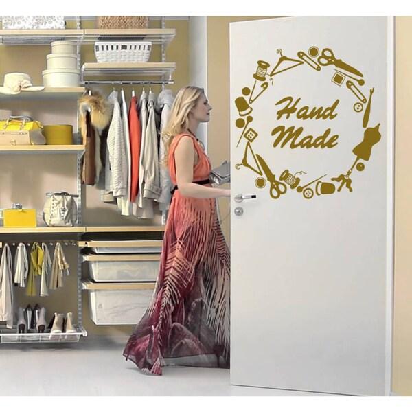 Sewing supplies Wall Art Sticker Decal Gold