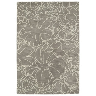 Hand-Tufted Seldon Taupe Floral Stencil Rug (9'0 x 12'0)