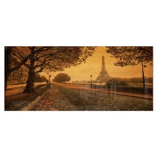 Designart 'Vintage Style View of Paris' Landscape Photo Metal Wall Art