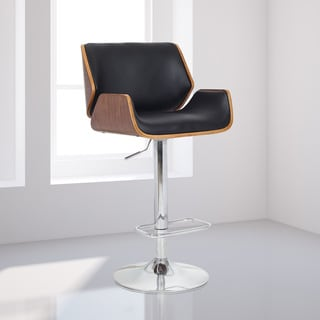 Verena Chrome/Wood Synthetic Fiber Stool