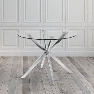 Franz Silver Metal Glass Dining Table