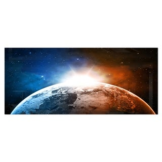 Designart 'Planet with Sunrise in Space' Contemporary Metal Wall Art
