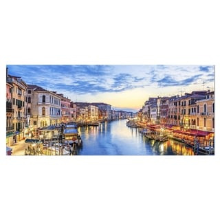Designart 'Grand Canal Panorama' Landscape Photo Metal Wall Art