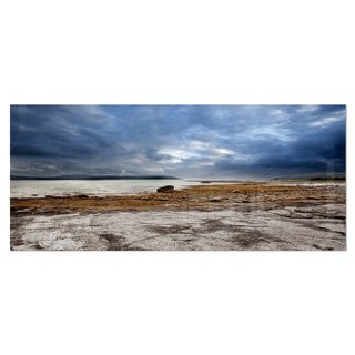 Designart 'Norway Ocean Coast Land' Photo Landscape Metal Wall Art