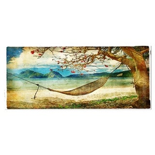 Designart 'Tropical Sleeping Swing' Digital Art Landscape Metal Wall Art