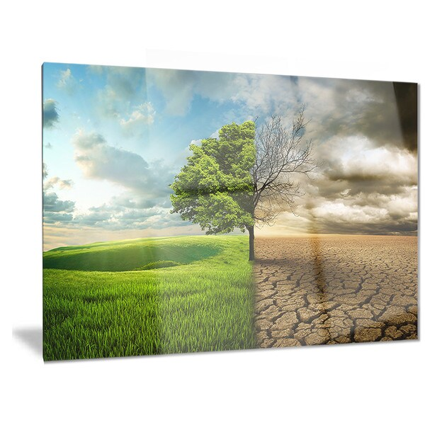 Designart 'Global Warming' Landscape Contemporary Metal Wall Art