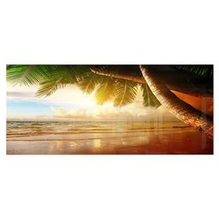 Designart 'Caribbean Beach Sunrise' Landscape Photo Metal Wall Art