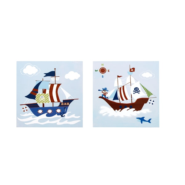Mi Zone Kids Pirates Arghhh Blue Printed MDF Box (Set of 2)