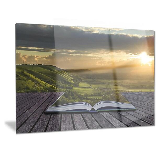 Designart 'Open Book to Green Valley' Digital Art Landscape Metal Wall Art
