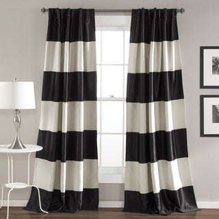 Lush Decor Montego Black and Gold Polyester Striped Window Curtain Panel Pair
