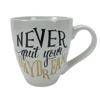 'Never Quit Your Daydream' 18-ounce White Stoneware Mug
