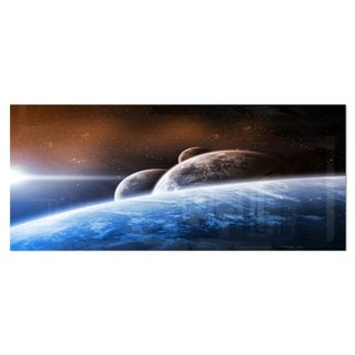 Designart 'Space Planet Landscape' Digital Metal Wall Art