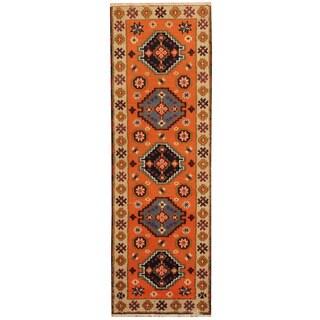 Herat Oriental Indo Hand-knotted Tribal Kazak Orange/ Beige Wool Runner (2'1 x 6'6)