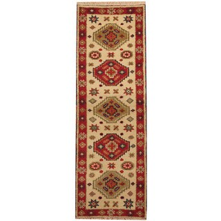 Herat Oriental Indo Hand-knotted Tribal Kazak Ivory/ Red Wool Runner (2'2 x 6'4)