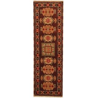 Herat Oriental Indo Hand-knotted Tribal Kazak Brown/ Ivory Wool Runner (2'1 x 6'8)