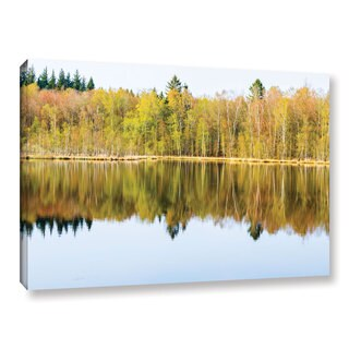 Andrew Lever's 'Yellow Lake Trees' Gallery Wrapped Canvas