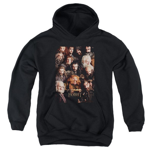 The Hobbit/Dwarves Poster Youth Pull-Over Hoodie in Black