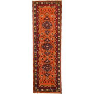 Herat Oriental Indo Hand-knotted Tribal Kazak Orange/ Blue Wool Runner (2'1 x 6'8)