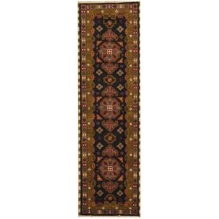 Herat Oriental Indo Hand-knotted Tribal Kazak Navy/ Green Wool Runner (2' x 6'9)