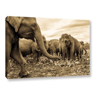Andrew Lever's 'Playing Elephants' Gallery Wrapped Canvas